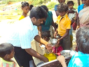 Feeding The Poor in slums
